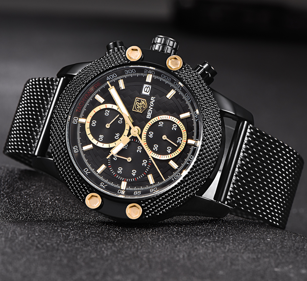 BENYAR-Sport-Chronograph-Fashion-Watches-Men-Mesh-Rubber ...