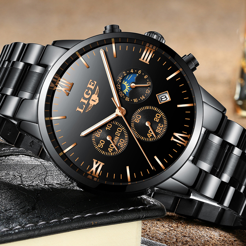 Lige watch men fashion sports quartz clock mens watches top brand luxury full steel business for Lige watches
