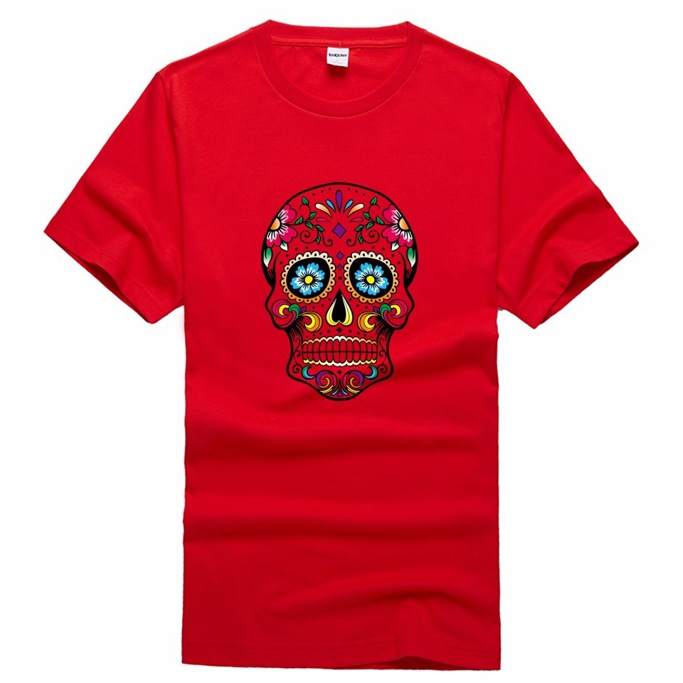 Mexican flower skull cat print men t shirt casual summer for Drop ship t shirt printing